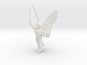 32mm Angel with sword in White Natural Versatile Plastic