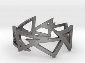triangle-chained Ring  in Polished Nickel Steel: 8.25 / 57.125