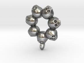 Seven Skull pendant in Natural Silver