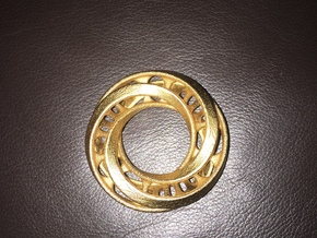 Mobius Ring Pendant v4 in Polished Gold Steel