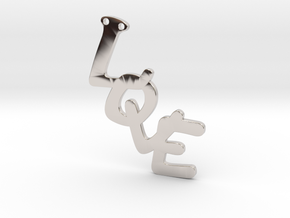 Pendent- Love in Rhodium Plated Brass