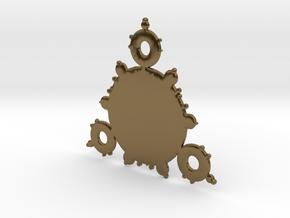 Mandelbrot 3 Leaf In Pendant in Polished Bronze