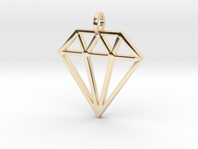Pendant 'Diamond' in 14k Gold Plated Brass