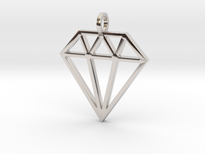 Pendant 'Diamond' in Rhodium Plated Brass