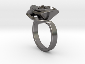 Rose ring in Polished Nickel Steel