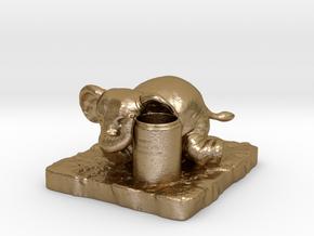 Elephant Pen holder in Polished Gold Steel