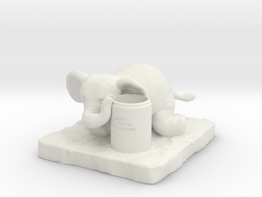 Elephant Pen holder in White Strong & Flexible