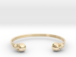 Double Banded Skull Cuff in 14k Gold Plated Brass: Small