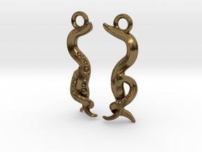 C. elegans Nematode Worm Earrings in Polished Bronze