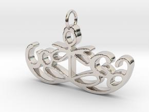 Yoga Glee Pendant Symbol and Text in Platinum