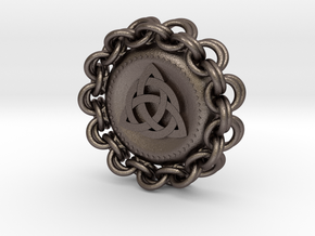 Celtic Chainmail Pendant in Polished Bronzed Silver Steel