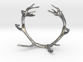 Red Deer Antler Bracelet 80mm in Polished Silver