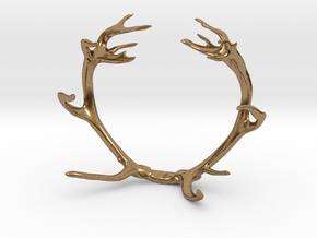 Red Deer Antler Bracelet 80mm in Natural Brass