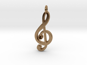 G Clef Pendant with «G» in Natural Brass