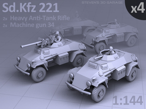 Sd.Kfz 221 (4 pack) in Smooth Fine Detail Plastic
