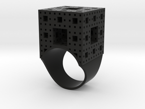 Menger Ice Cube Ring - 21mm Diameter in Black Natural Versatile Plastic