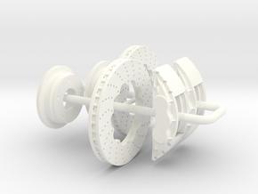 1/18 Modern 11.6 Inch Diam 6 Piston Disk Brake Set in White Processed Versatile Plastic