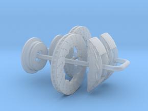 1/24 Modern 11.6 Inch Diam 6 Piston Disk Brake Set in Smooth Fine Detail Plastic