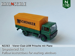 Vierer-Club-LKW Pritsche mit Plane (N 1:160) in Smooth Fine Detail Plastic