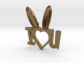 I Heart You Bunny pendant in Natural Bronze
