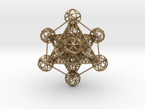 3D Metatron's Cube (large) in Polished Gold Steel