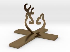Cross&Deer Small in Polished Bronze