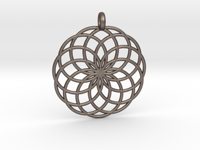 14 Ring Pendant - Flower of Life in Polished Bronzed Silver Steel