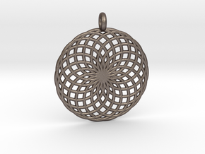 18 Ring Pendant - Flower of Life in Polished Bronzed Silver Steel