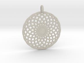 18 Ring Pendant - Flower of Life in Natural Sandstone