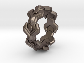 Yplus LINK Ring Size 10.5 in Polished Bronzed Silver Steel