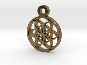 Seed Of Life Pendant in Polished Bronze