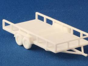 Flat Bed Trailer HO Scale in White Strong & Flexible