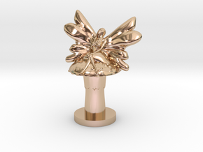 Fairy on Toadstool in 14k Rose Gold Plated Brass