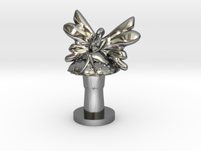 Fairy on Toadstool in Premium Silver