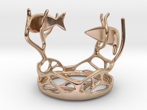 Two Fishes Candlestick in 14k Rose Gold Plated Brass