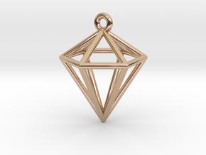 3D Diamond Pendant in 14k Rose Gold Plated Brass