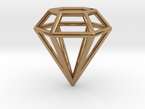 Pendant 'Diamond 3D' in Polished Brass