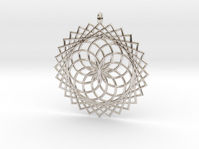 Flower of Life - Pendant 1 in Rhodium Plated Brass