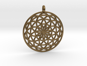 Flower of Life - Pendant 3 in Natural Bronze