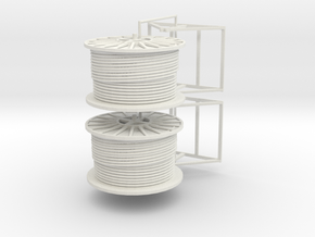 1/50th Pair of Cable Reel Spools on mounts in White Strong & Flexible