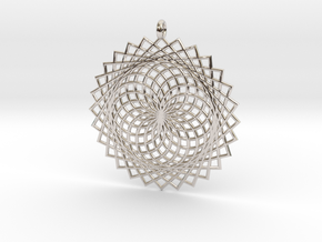 Flower of Life - Pendant 2 in Rhodium Plated Brass