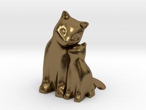 Cuddling Kittens in Polished Bronze