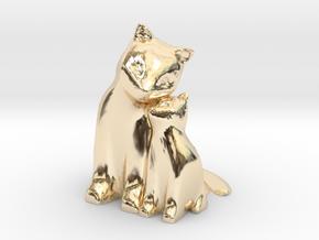 Cuddling Kittens in 14k Gold Plated Brass