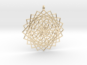 Flower of Life - Pendant 5 in 14k Gold Plated Brass