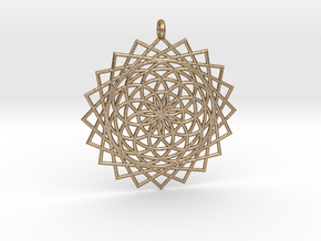 Flower of Life - Pendant 5 in Polished Gold Steel