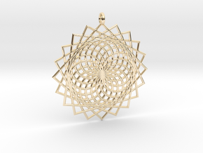 Flower of Life - Pendant 6 in 14k Gold Plated Brass