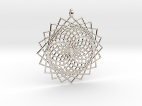 Flower of Life - Pendant 6 in Rhodium Plated Brass