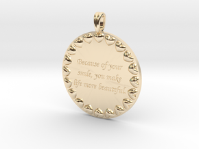 Because Of Your Smile | Jewelry Quote Necklace. in 14k Gold Plated Brass