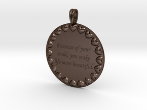 Because Of Your Smile | Jewelry Quote Necklace. in Polished Bronze Steel
