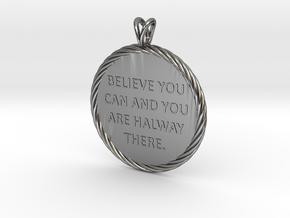 Believe you can | Quote Necklace, Pendant in Fine Detail Polished Silver